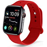 NUKELOLO Sport Band Compatible with Apple Watch 42MM 44MM, Soft Silicone Replacement Strap Compatible for Apple Watch Series 4/3/2/1 [Red Color in M/L Size]