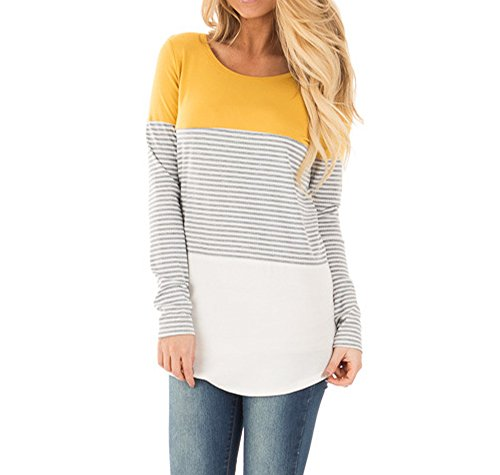 Womens Casual Color Block Stripe Knits Shirts Long Sleeve Tees Cotton Blouse Tunic Tops Yellow M
