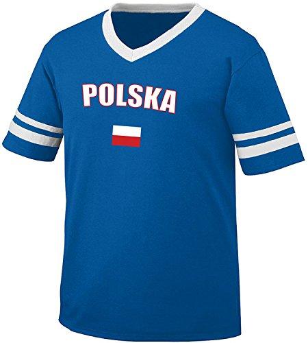 Poland Polska Country Flag Men's Retro Soccer Ringer T-shirt, Amdesco, Royal/White (Design Mens Ringer T-shirt)