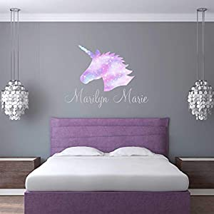Unicorn Wall Decal Custom Name – Girls Personalized Name Unicorn Wall Sticker – Custom Name Sign – Custom Name Stencil Monogram – Girls Nursery Wall Decor