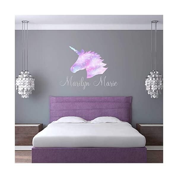 Unicorn Wall Decal Custom Name - Girls Personalized Name Unicorn Wall Sticker - Custom Name Sign - Custom Name Stencil Monogram - Girls Nursery Wall Decor 3