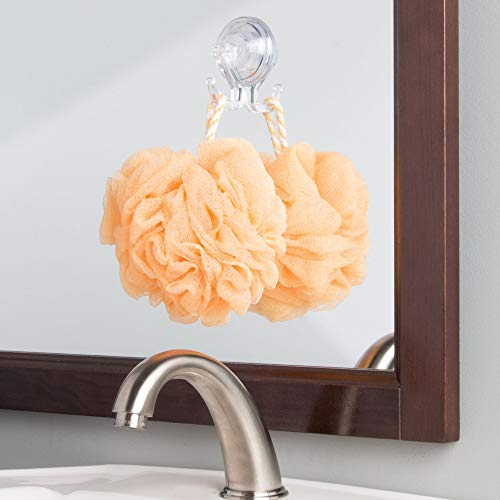 InterDesign Power Lock Bathroom Shower Plastic Suction Cup Hooks for Loofah, Towels, Sponges, and More Set of 2 Clear by InterDesign (Image #2)