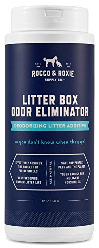 Rocco & Roxie Litter Box Odor Eliminator ? Best Natural Urine Deodorizer for Cat Litter Boxes ? You Won?t Need to Change The Cat Litter as Often ? Fresh Scent ? Safe for Kitty (12 oz Bottle)