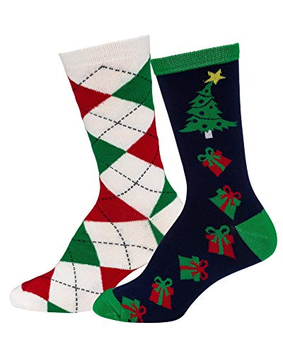 Mens & Womens Fun Novelty Holiday Halloween Xmas Socks- One Size Fits Most (One Size Fits Most (Shoe-4-10), Christmas 2PK Crews-Argyle/Xmas Presents) for $<!--$8.99-->