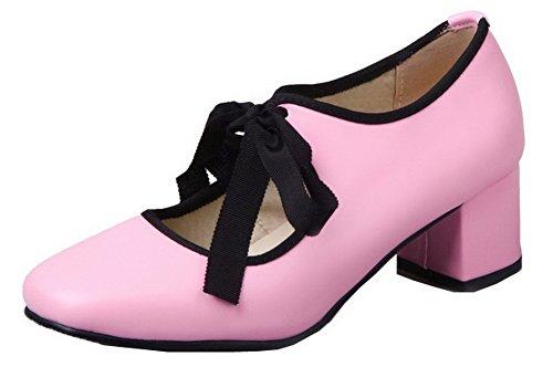 AgooLar Damen PU Rein Schnüren Schließen Zehe Mittler Absatz Pumps Schuhe Pink