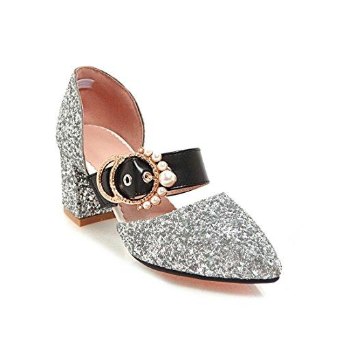 elegante sandali sandali violento signore i a sandali lustrini trentaquattro e donne scarpe punta argenteo fibbie sandali high i heeled tq81wSI