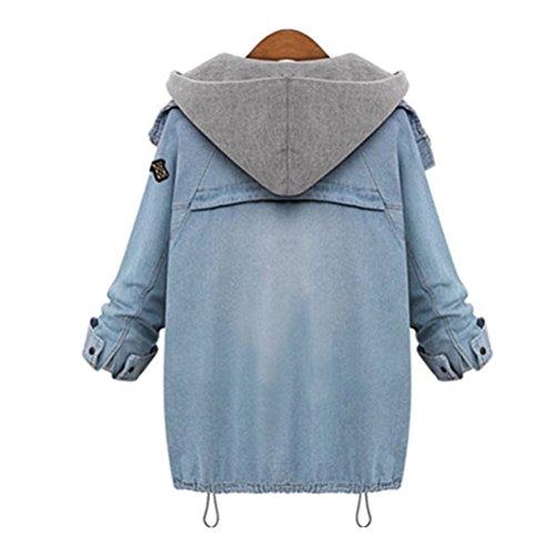Femme Oudan Mode Outwear 2 Pièce 1 Automne Capuche Manteaux Jean Popluaire Bleu Hiver En À Parka Veste TSxq4fdS