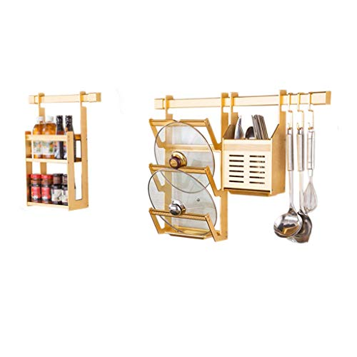 Table Pot Mounted Aluminum Rack - Tableware Storage Rack Dish Drainer Rack Holder Or Kitchen Home Storage Kitchen Rack Aluminum Drain Gold Pot Cover Chopsticks Cage Seasoning Wall-mounted Multi-function Household Cutlery Tableware Cup