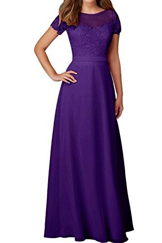 Mit Festkleider Damen Spitze Elegant Abendkleider Rundkragen Violett Aermeln Ballkleid Ivydressing Otn8qPwq