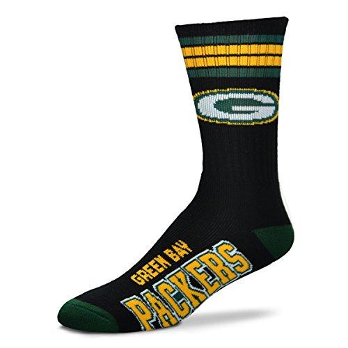 For Bare Feet Black Deuce Socks Men's Size Medium 5-10 - Green Bay Packers