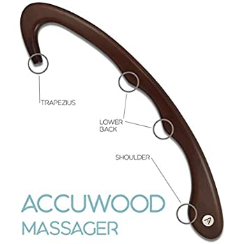 Accuwood Trigger Point Massager and Back Massager Handheld Massage Cane and Self Massage Tool with Usage Pamphlet - Mahogany Tint