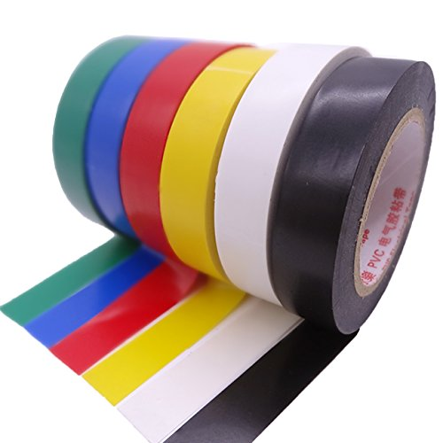 Maveek Electrical Tape 0.6 Inch Electrical Insulation Tape, 50 Feet, 6 Color 6 Pack
