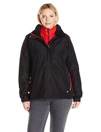 White Sierra Women's Plus Size Trifecta Jacket, Black, 1X