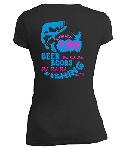 CLTEE Father-Fishing The End Women's V-Neck Tee, A Short Poem About Me Beer Boobs T Shirt-Women V-Neck (XL, Black) ()