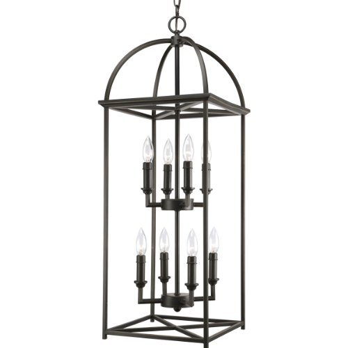 Progress Lighting P3888-20 8-Light Piedmont Foyer Lantern, Antique Bronze Antique Bronze Eight Light Chandelier