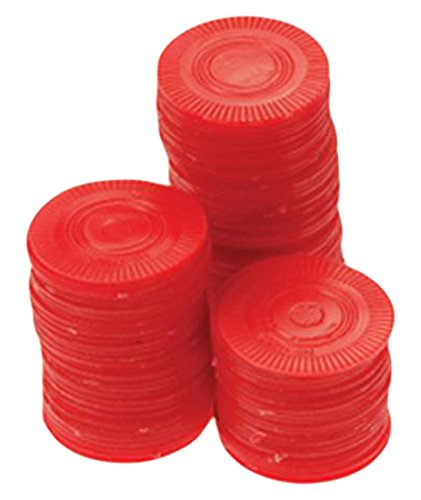 One Bag of 100 Red Plastic Poker Chips ()