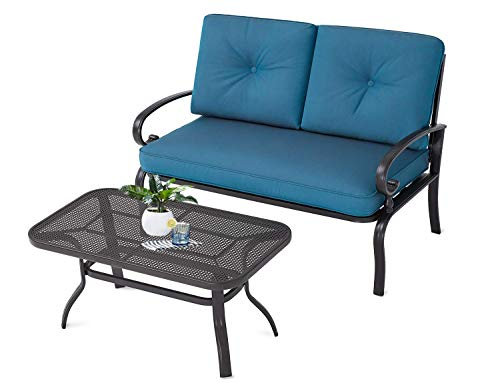 Incbruce Outdoor Patio Furniture Loveseat 2-Piece and Bistro Coffee Table Set Furniture Bench with Cushion, Lawn Front Porch Garden, Wrought Iron Frame, Peacock Blue (Sofa Iron Wrought Patio)