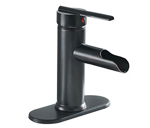 Greenspring Waterfall Single Handle Hole Lever Bathroom Sink Faucet ORB,Oil Rubbed Bronze Finshed