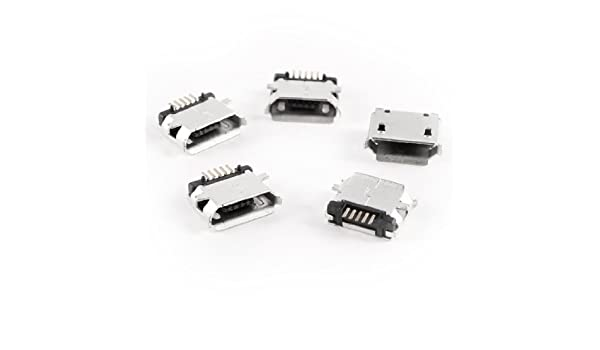 Amazon.com: eDealMax 5 piezas de Micro USB tipo B Enchufe hembra de 180 grados 5-Pin SMD SMT soldadura Jack: Electronics