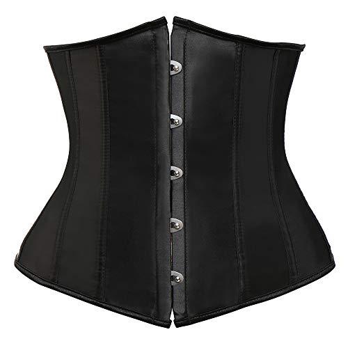 Vaslanda Womens Black Sexy Steampunk Underbust Corset Lace up Waist Cincher Bustier Top (Corset Dream)