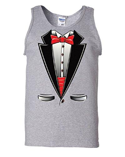 Funny Tuxedo Bow Tie Tank Top Tux Wedding Party Gray 2XL by Tee Hunt