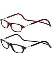 TBOC Leesbrillen voor Heren en Dames - [Twee Eenheden] Montuur Brillen met Sterkte Regelbaar Opvouwbaar Trend met Magneet Clip voor Oogvermoeidheid Verziendheid Verziendheid Praktisch Handig