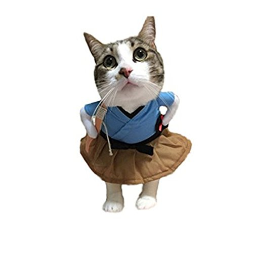 Blue Stones Pet Cat Costume Clothes Funny Dress Cosplay Party Clothing for $<!--$17.41-->
