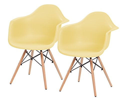 IRIS Mid-Century Modern Shell Armchair with Wood Eiffel Legs, 2 Pack, Lemon Yellow