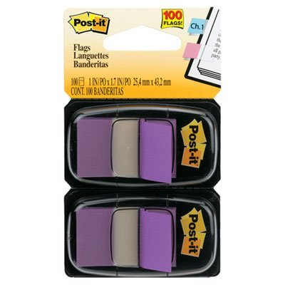 Post-it® Flags, Purple, 1 in Wide, 50/Dispenser, 2 Dispensers/Pack by Post-it