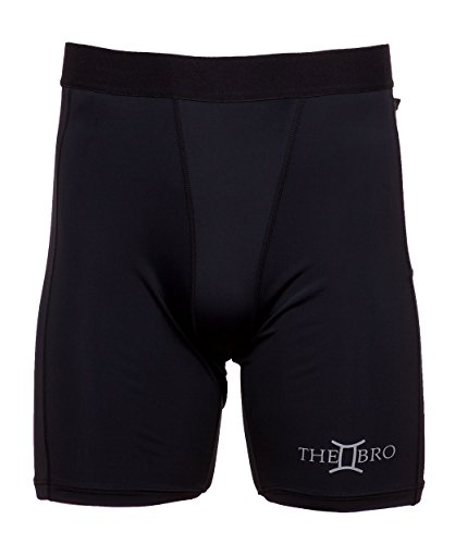 Compression Workout Shorts with Custom Phone Pocket: THE II BRO (4-XL) Black