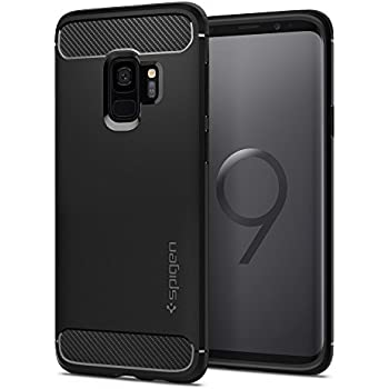 Spigen Rugged Armor Galaxy S9 Case with Flexible and Durable Shock Absorption with Carbon Fiber Design for Samsung Galaxy S9 (2018) - Matte Black