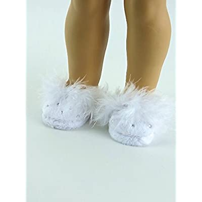 "American Fashion World White Rhinestone Slippers for 18"" Dolls: Toys & Games"