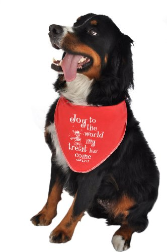 Ruff Ruff and Meow Doggie Bandana, Joy to the World, Red, Medium by Ruff Ruff and Meow