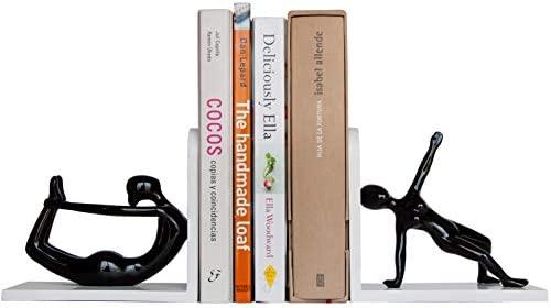 Percilun Sujetalibros Originales Decorativos Yoga, Set de 2 Soporte Libros, Figuras de Yoga, Sujeta Libros Estantería. Aguanta libros, Reposa Libros ...