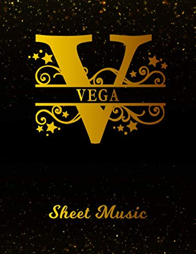 Vega Sheet Music: Personalized Name Letter V Blank Manuscript Notebook Journal | Instrument Composition Book for Musician & Composer | 12 Staves per ... | Create, Compose & Write Creative Songs