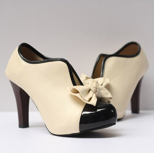 FeelMeStyle Shoes Pump Vintage Stiletto Beige Party for Wedding High Ladies Bow Heel Trtwrxq