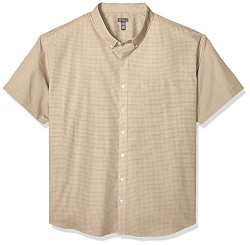 - Van Heusen Men's Size Big and Tall Wrinkle Free Short Sleeve Button Down Check Shirt, Aluminum, XX-Large