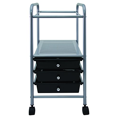 Vertiflex Slim-Profile Mobile File Cart with 3 Drawers, 15.7'' x 13'' x 26.25'', Black/Silver (VF53037) by Vertiflex