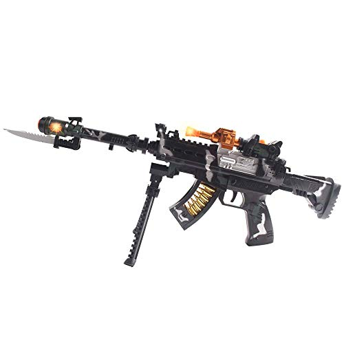 Anstoy Kids Toy Gun with Colorful Flashing LED Lights & Sounds & Vibration Effects,Imaginative Pretend Play for Girls &Boys as Birthday (Rifle)