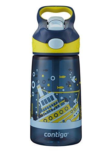 Contigo AUTOSPOUT Straw Striker Kids Water Bottle, 14 oz, Nautical Sunken Ship
