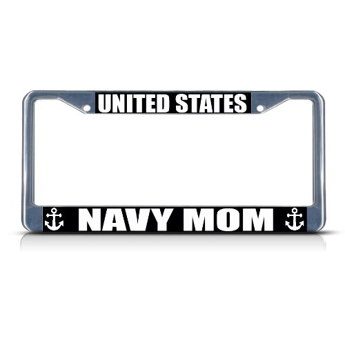 Fastasticdeals United States Navy MOM Chrome Metal Heavy Duty License Plate Frame Tag Border
