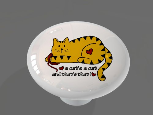 A Cats a Cat High Gloss Ceramic Drawer Knob