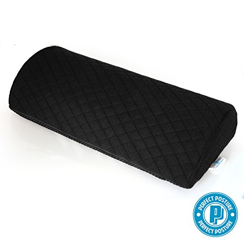 Perfect Posture - Half Moon Wedge Pillow Bolster Firm for Pain Relief of Sciatic Nerve, Back Pain, Leg Pain, Pregnancy, Hip and Joint Pain - Orthopedic Memory Foam, Quilted AngelSoft Fabric (1-Count)