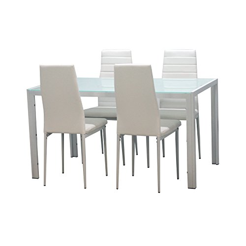 IDS 5 Pc Glass Dining Room Table set for 4 With Soft Faux Leather Chairs Dinette Kitchen Furniture- Rectangular Ivory