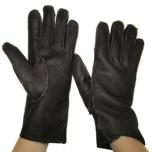 FursNewYork Women's Brown Suede Leather Genuine Shearling Sheepskin Gloves Medium