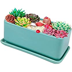 Vencer 12 Inch Iarge Capacity Modern Minimalist Ceramic Succulent Planter Pot - Window Box with Saucer,Office Desktop Potted Stand,Turquoise,VF-063T