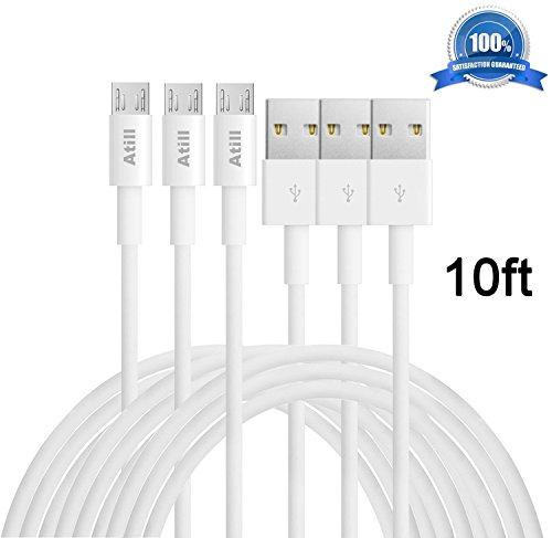 White Wh Headphones Portable (Atill Micro USB Cable,3 Pack 10FT/3M Extra Long High Speed USB2.0 A Male to Micro B Sync and Charging Cables for Samsung,HTC,LG Android phones,tablet computer and MP3 player(White))