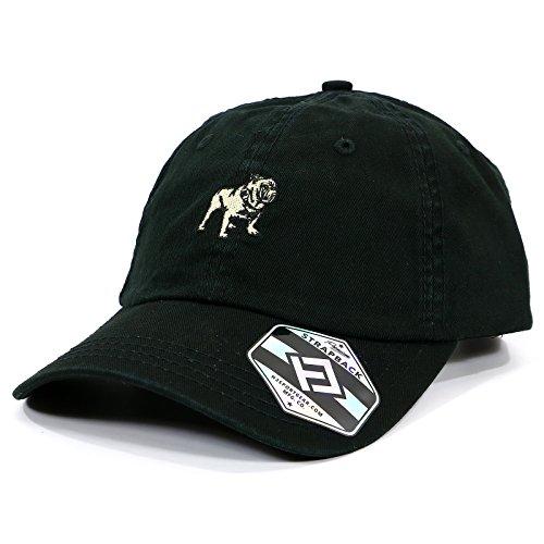 H3 SPORTGEAR Mack Bulldog Logo Heavy-Washed Strapback Dad Hat,Black,Adjustable]()