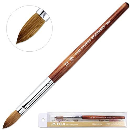 Fuji Brand Size # 12 Oval Crimped Shaped Mahogany Wood Handle Acrylic Nail Brush Professional Salon Quality 100% Pure Kolinsky Hair Bristles