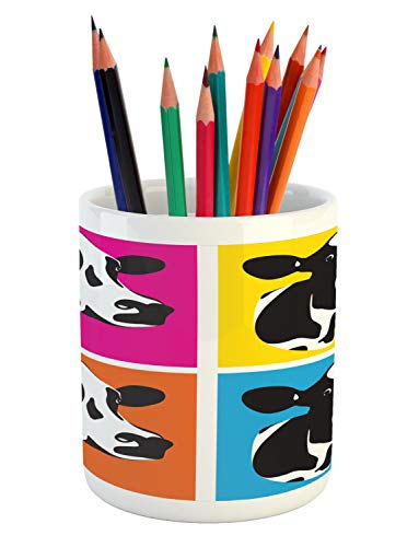 Ambesonne Cattle Pencil Pen Holder, Pop Art Style Cow Head Portraits Composition in Vibrant Colors Graphic Illustration, Printed Ceramic Pencil Pen Holder for Desk Office Accessory, Multicolor